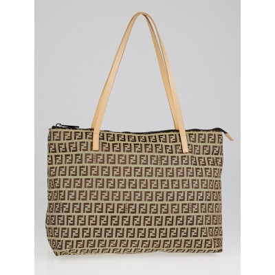 Fendi Brown/Beige Zucchino Small Tote Bag