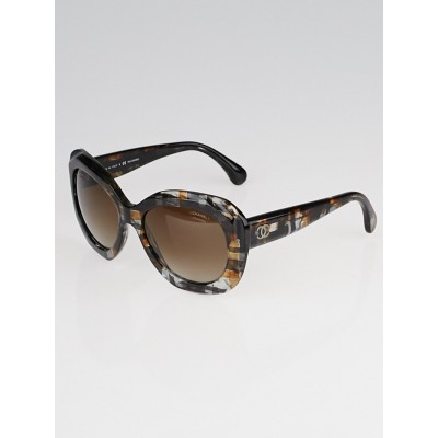 Chanel Black and Brown Plaid Acetate Square Frame Sunglasses-5323