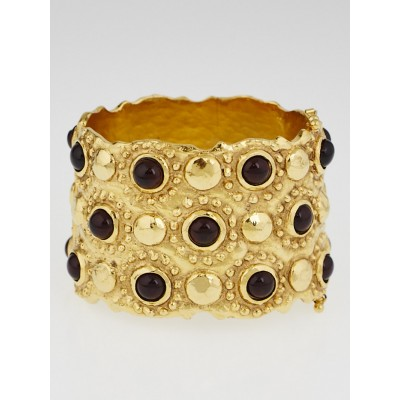 Chanel Goldtone and Resin Beaded Cuff Bracelet