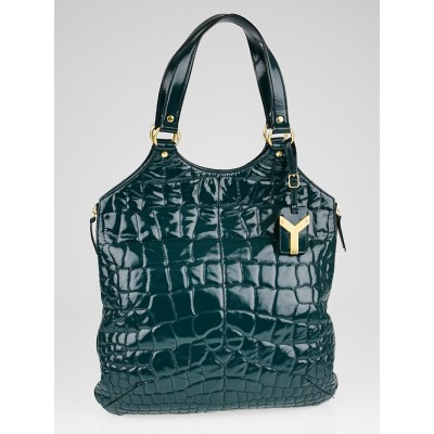 Yves Saint Laurent Green Croc Embossed Patent Leather Large Tribute Tote Bag
