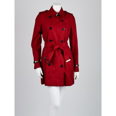Burberry London Military Red Cotton Kensington Trench Coat Size 6