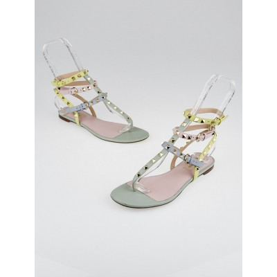 Valentino Watercolor Leather Rockstud Flat Sandals Size 8/38.5