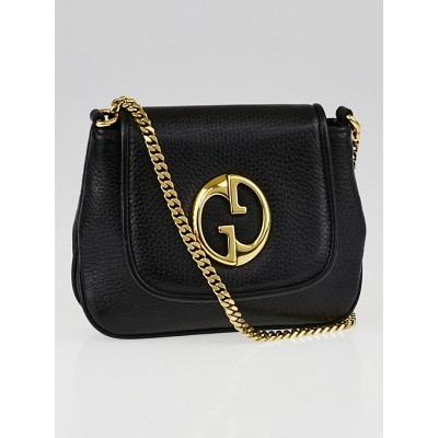 Gucci Black Pebbled Leather '1973' Small Chain Shoulder Bag