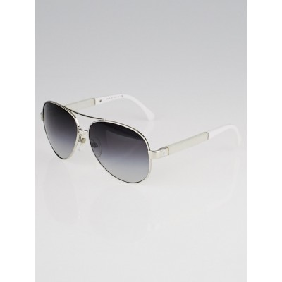 Chanel Silver/White Metal Frame Aviator Sunglasses-4195-Q