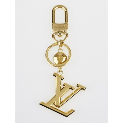 Louis Vuitton Goldtone Metal LV Facettes Key Holder and Bag Charm