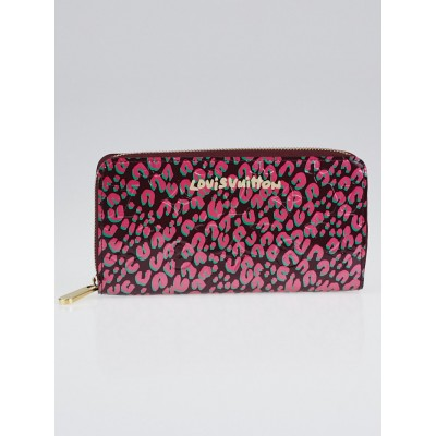 Louis Vuitton Limited Edition Rouge Fauviste Monogram Vernis Leopard Zippy Wallet