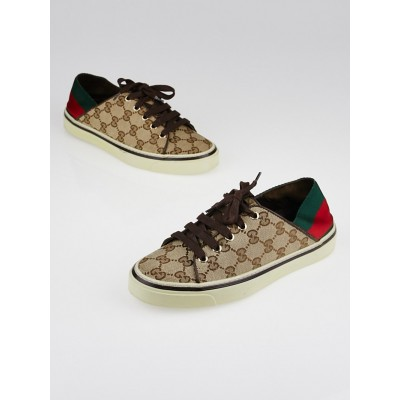 Gucci Beige/Ebony GG Canvas and Vintage Web Sneakers Size 5/35.5