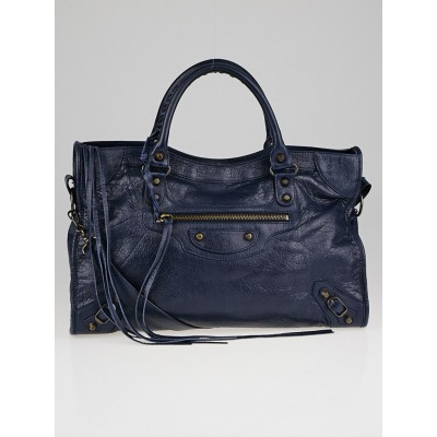 Balenciaga Blue Obscure Lambskin Leather Motorcycle City Bag