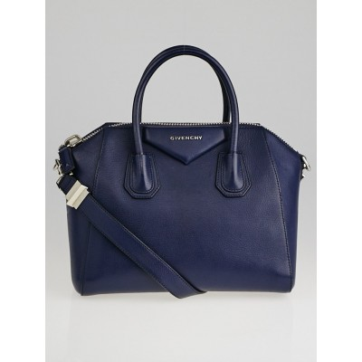 Givenchy Navy Blue Sugar Goatskin Leather Small Antigona Bag