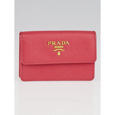 Prada Peonia Saffiano Metal Card Holder 1M0881
