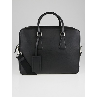 Prada Black Saffiano Leather Briefcase Bag VS363T