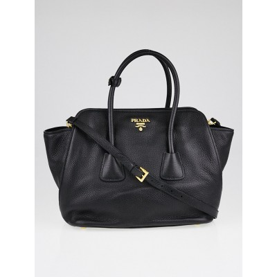 Prada Black Vitello Daino Leather Top Handle Tote Bag BN2655