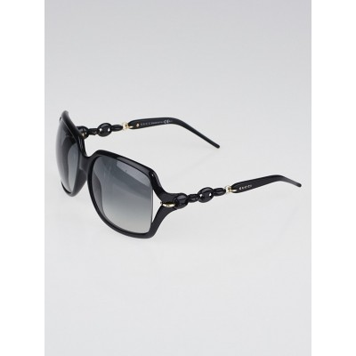 Gucci Black Frame Gradient Tint Oversized Chain Sunglasses-3584/S