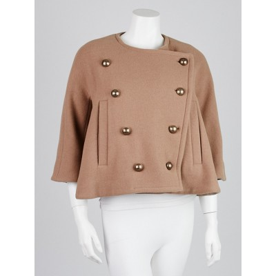 Chloe Camel Wool Blend Cropped Jacket Size 4/36