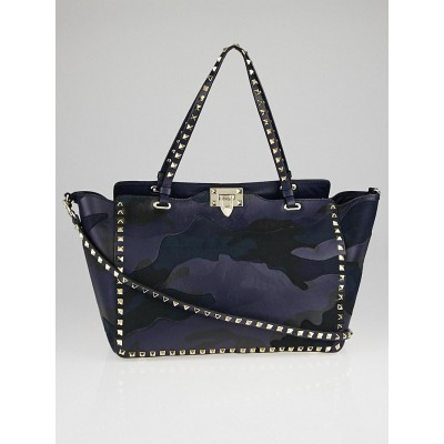 Valentino Navy Blue Camouflage Leather/Canvas Rockstud Medium Tote Bag