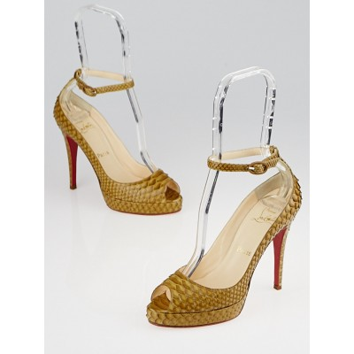 Christian Louboutin Tobacco Python Y'Open 120 Sandals Size 6.5/37