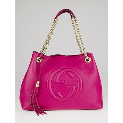 Gucci Fuchsia Pebbled Leather Soho Chain Tote Bag