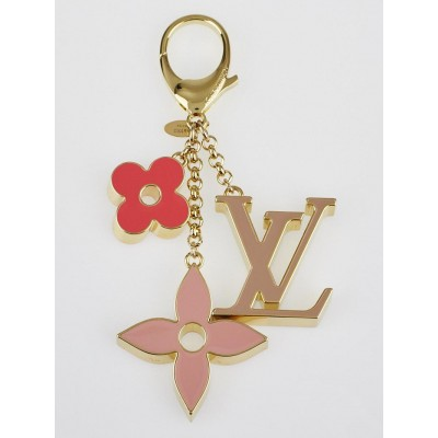 Louis Vuitton Pink Enamel and Metal Fleur de Monogram Key Ring and Bag Charm