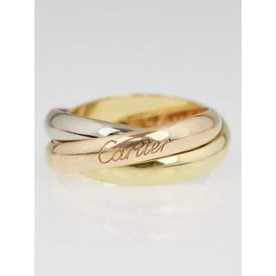 Cartier 18k Tri-Gold Trinity Ring Size 6.25/53