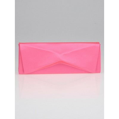 Christian Louboutin Shocking Pink Satin Triangolo Clutch Bag