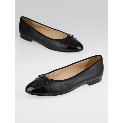 Chanel Black Leather Cap Toe CC Ballet Flats Size 11/41.5