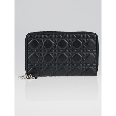 Christian Dior Black Cannage Quilted Leather Zip Wallet