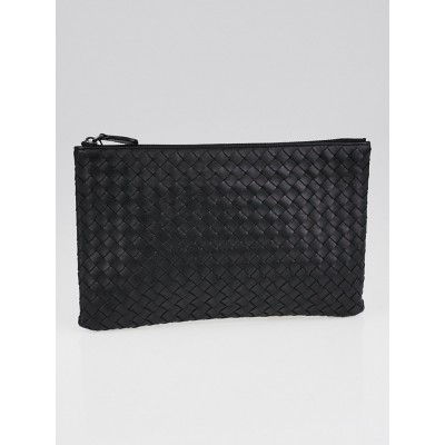 Bottega Veneta Black Intrecciato Leather Zip Case