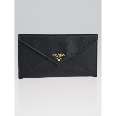 Prada Black Saffiano Metal Leather Busta Con Wallet