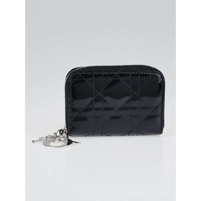 Christian Dior Black Cannage Quilted Patent Leather Lady Dior Multi-Card Holder
