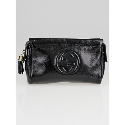 Gucci Black Patent Leather Soho Cosmetic Case