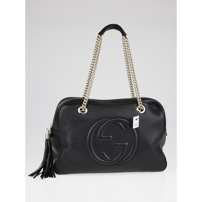 Gucci Black Pebbled Leather Soho Chain Large Shoulder Bag