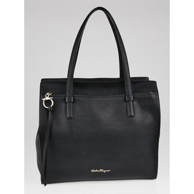 Salvatore Ferragamo Black Pebbled Leather Amy Medium Tote Bag