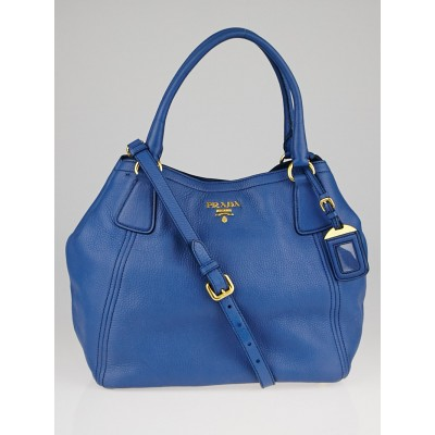 Prada Cobalto Vitello Daino Leather Tote Bag BN2534