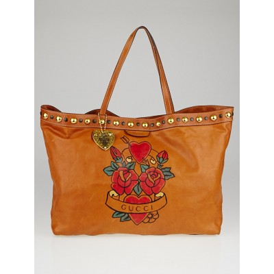 Gucci Brown Leather Babouska Studded Tattoo Heart Tote Bag