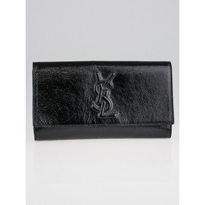 Yves Saint Laurent Black Textured Patent Leather Belle de Jour Clutch Bag