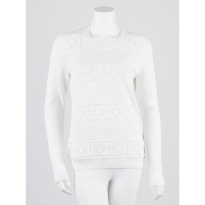 Burberry London White Cotton Lace Sweater Size M