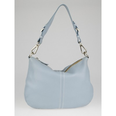 Prada Blue Vitello Daino Leather Hobo Bag