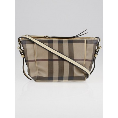 Burberry Smoked Check Coated Canvas Small Saddle Stitch Crossbody Bag