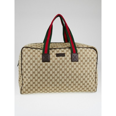 Gucci Beige/Ebony GG Canvas Large Collapsible Carry-On Duffel Bag