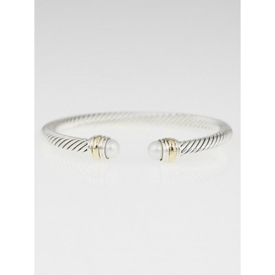 David Yurman 5mm Sterling Silver and Pearl Cable Classics Bracelet