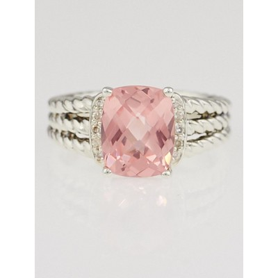 David Yurman Morganite and Diamonds Petite Wheaton Ring Size 7.5