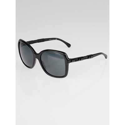 Chanel Black Square Acetate Frame and Crystals Bijou Sunglasses-5308-B