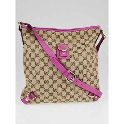 Gucci Beige/Pink GG Canvas Abbey Messenger Bag