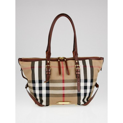 Burberry Dark Tan Leather and Bridle House Check Canvas Small Salisbury Tote Bag