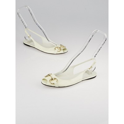 Gucci White Patent Leather Horsebit Slingback Flats Size 7