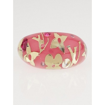 Louis Vuitton Pink Resin Monogram Inclusion Ring Size 7