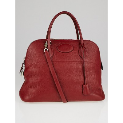 Hermes 35cm Rouge Garance Clemence Leather Palladium Plated Bolide Bag