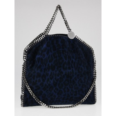 Stella McCartney Navy Leopard Print Fabric Small Falabella Fold Over Tote Bag