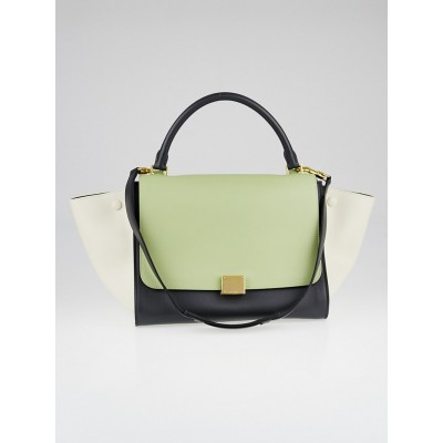 Celine Light Green Tricolor Calfskin Leather Small Trapeze Bag