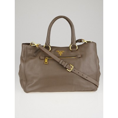 Prada Grey Leather Front Zip Tote Bag